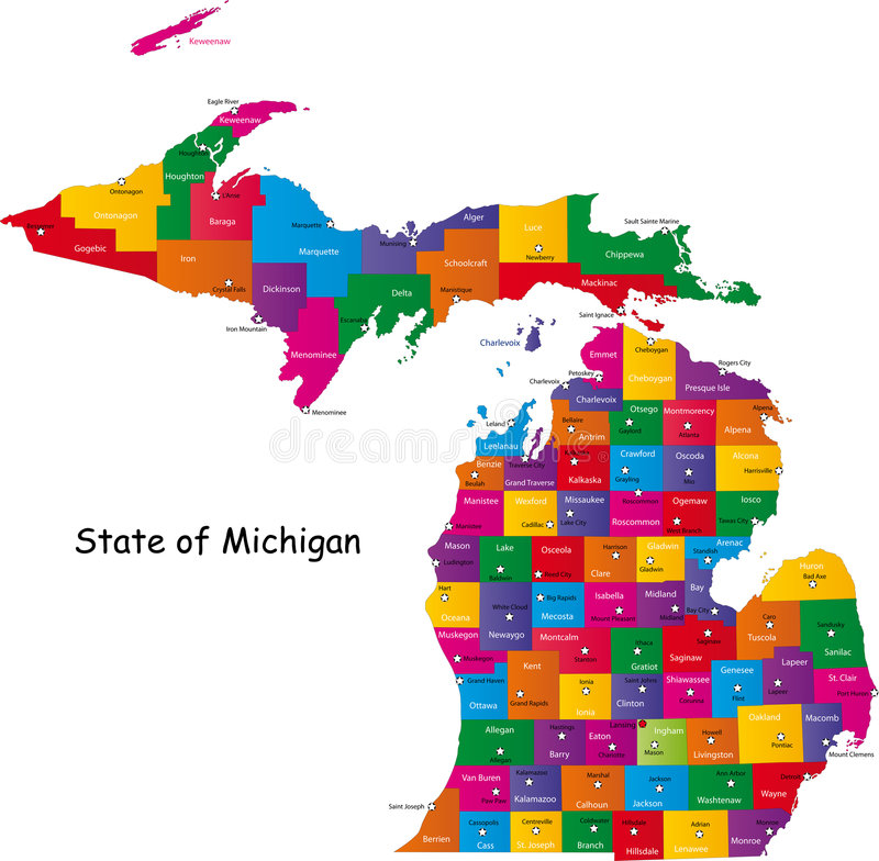 Michigan state. Map of Michigan state designed in illustration with the counties and the county seats. (Map is hight resolution