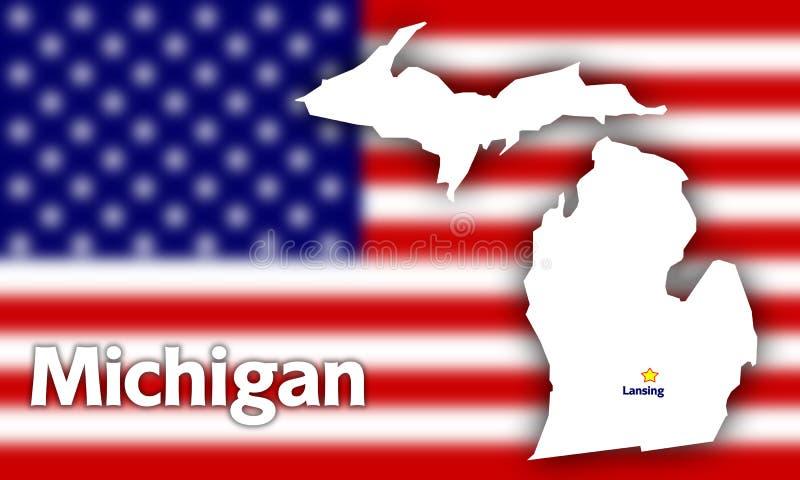 Michigan state contour royalty free illustration