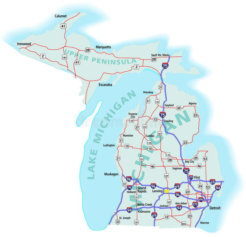 download michigan state interstate map stock vector ilration of american direction 11952105