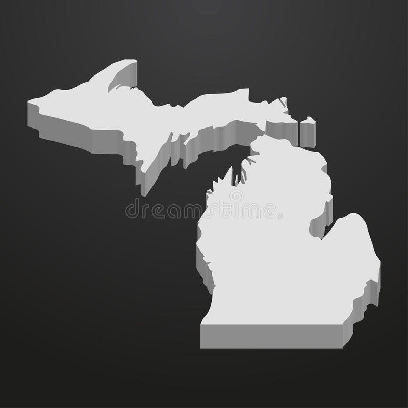 Download michigan state map in gray on a black background 3d stock vector illustration of