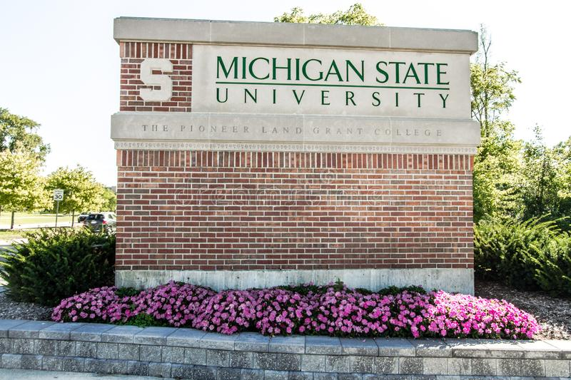 Michigan State University Emblem And Sign In East Lansing. East Lansing, Michigan, USA - September 17, 2018: Sign for the Michigan State University campus. MSU stock images