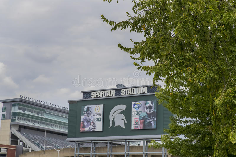 Michigan State University Spartan Stadium. Michigan State University MSU is a public research university in East Lansing, Michigan, United States. MSU was royalty free stock images