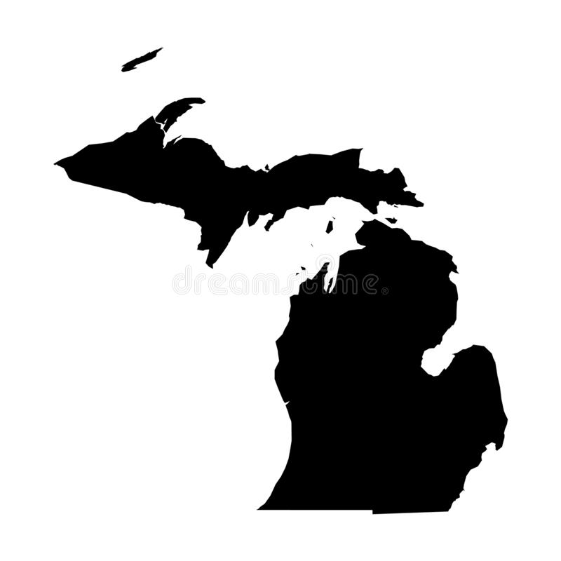 Michigan, state of USA - solid black silhouette map of country area. Simple flat vector illustration stock illustration