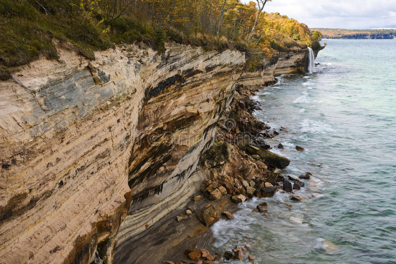 Michigan Upper Peninsula Waterfall. Spray Falls Pictured Rocks National Lakeshore Lake Superior royalty free stock photos