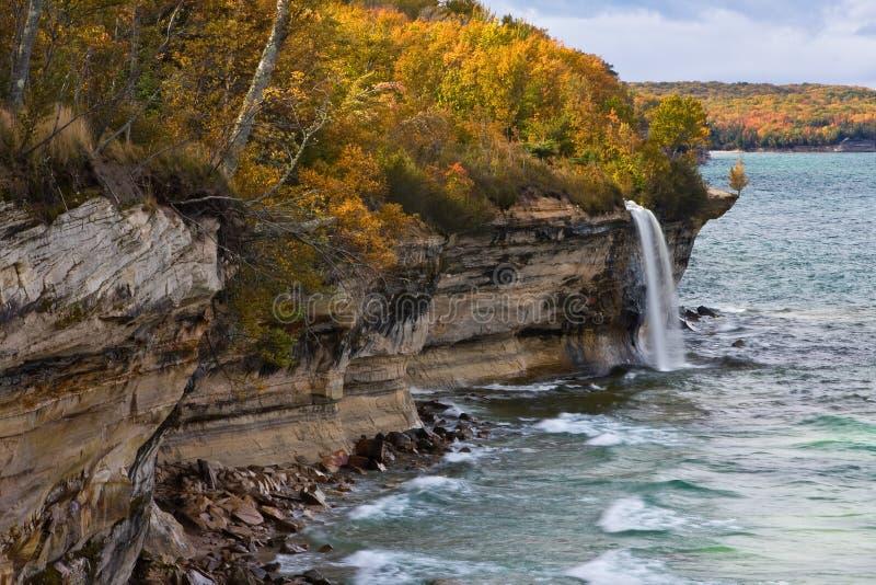 Michigan Upper Peninsula Waterfall In Autumn royalty free stock photography