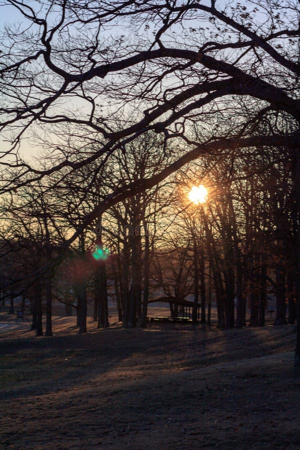 Michigan winter sunrise stock images