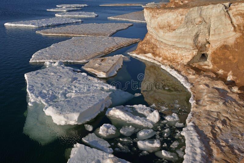 Michigansee-Eisberge stockfoto