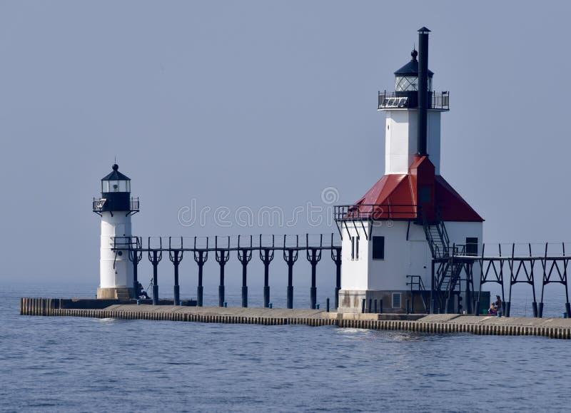 Michigansee-Leuchttürme lizenzfreies stockbild