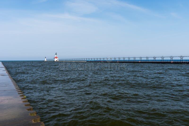 Michigansee St. Joseph North Pier Outer Lighthouse lizenzfreies stockbild