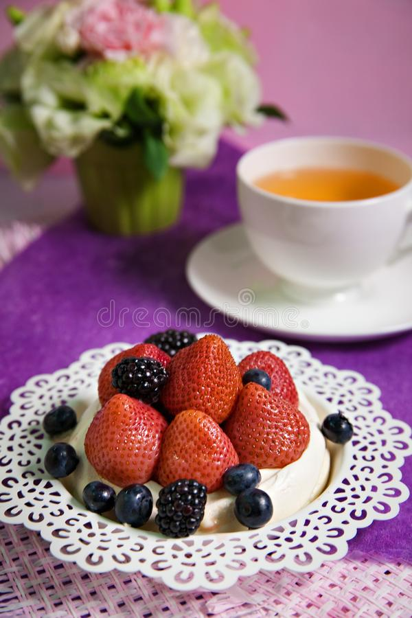 Mixed berry cake stock photos
