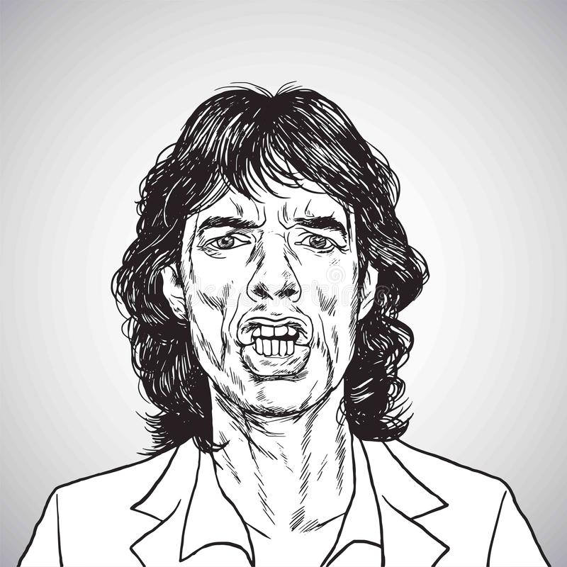 Mick Jagger Portrait Hand Drawn-Tekening Vector karikatuur 31 oktober, 2017 royalty-vrije illustratie