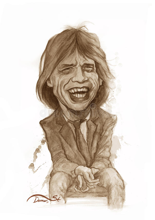 Jagger Watercolor Sketch. Editorial Use Illustration for Newspapers, Magazines or Internet