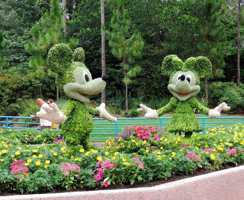 Mickey en Minnie Muis Topiaries stock afbeelding
