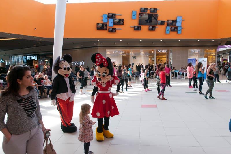 Mickey i Minnie myszy figurki rozwesela w górę zumba tancerzy zdjęcie stock