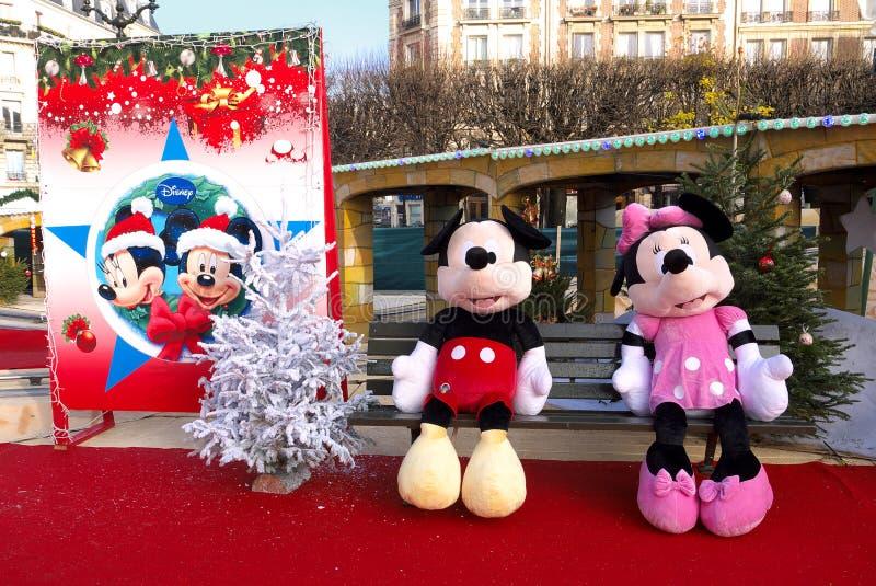 Mickey i Minnie przy Xmas Funfair, Francja fotografia stock