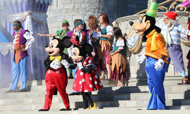 Mickey, Minnie en Mal in Disneyworld stock fotografie