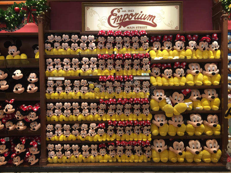 Mickey & Minnie. Lots of Mickey Mouse and Minnie Mouse stuffies on display at the Emporium on Main St. in Disney World stock photos