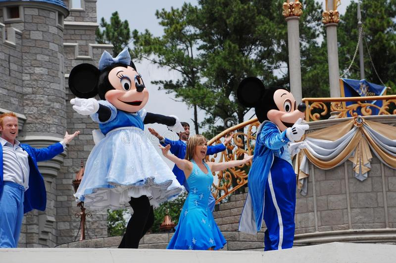 Mickey and Minnie in magic kingdom royalty free stock images
