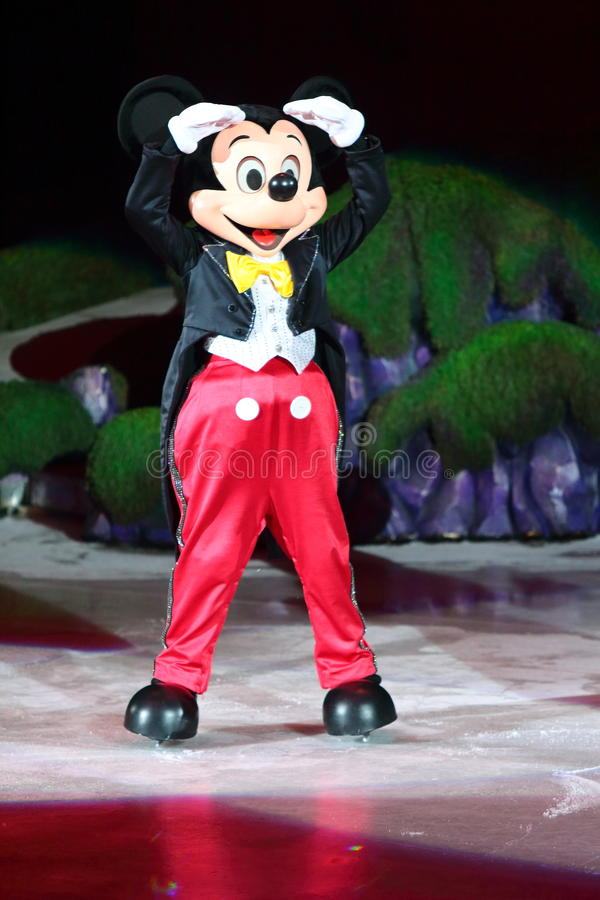 Mickey Mouse. Philippines - December 26, 2012. Mickey Mouse in Disney On Ice: Princesses & Heroes at Smart Araneta, Cubao Quezon City stock photo