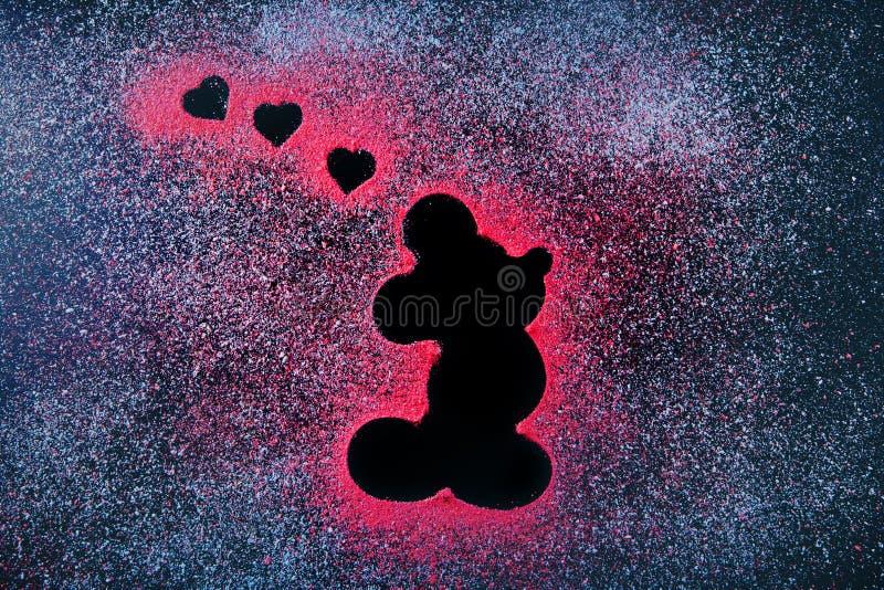 Mickey mouse icon chalkboard heart symbol. Studio stock photo