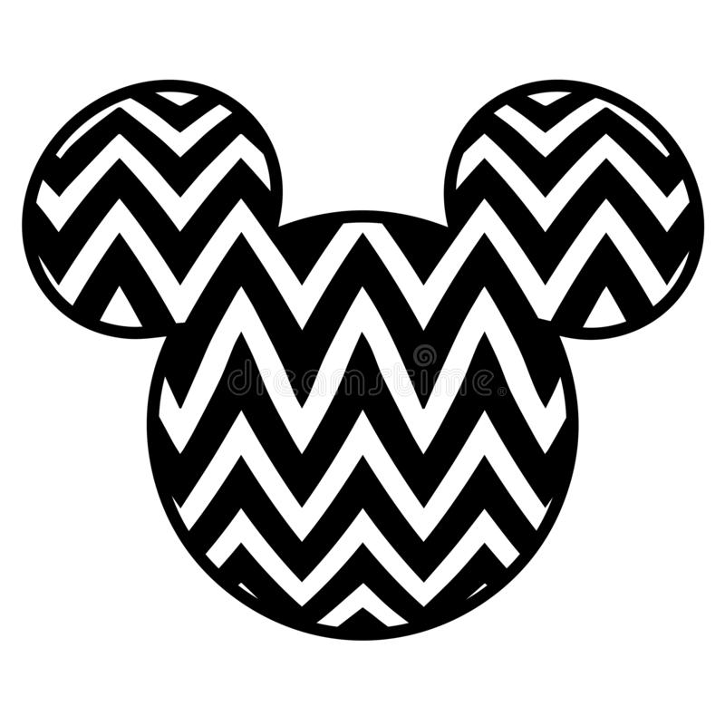Mickey Mouse-Kopfvektorbildschwarzweiss-Ausschnittdatei stock abbildung