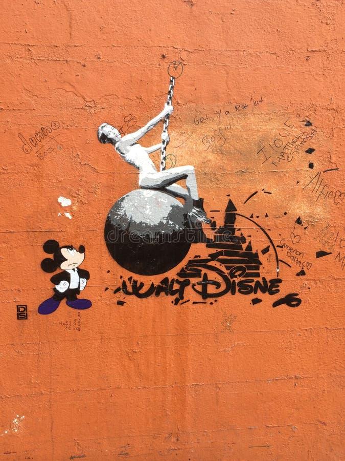 Mickey Mouse & Miley Cyrus royaltyfri foto