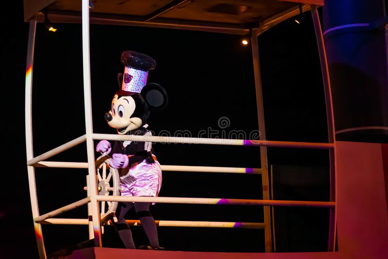 Mickey Mouse sailing on Fantasmic show at Hollywood Studios at Walt Disney World 2. Orlando, Florida. March 19, 2019. Mickey Mouse sailing on Fantasmic show at stock photos