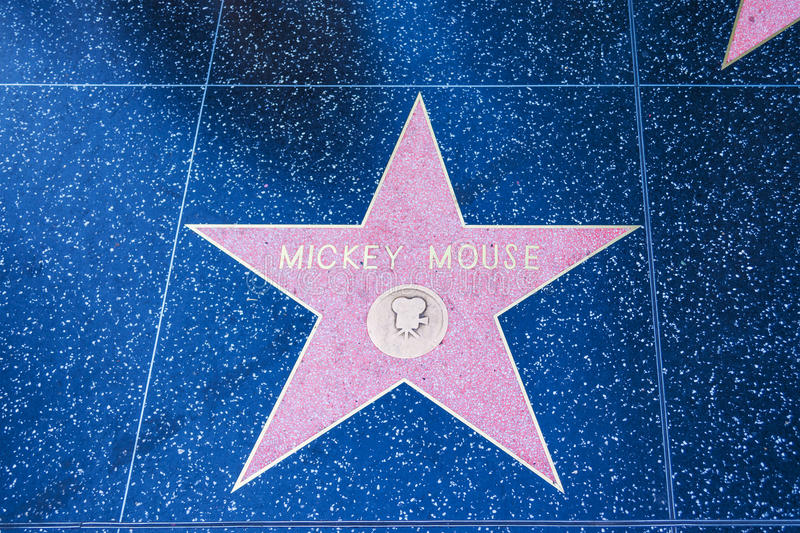 Mickey Mouse star on Hollywood Walk of Fame. LOS ANGELES, CALIFORNIA - NOVEMBER 2, 2016: Mickey Mouse star on Hollywood Walk of Fame royalty free stock images