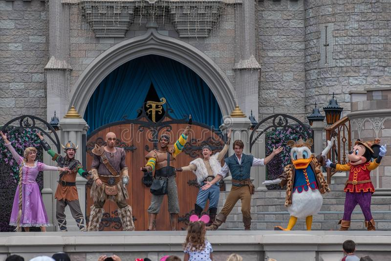 Mickey`s Royal Friendship Faire on Cinderella Castle in Magic Kingdom at Walt Disney World Resort stock image
