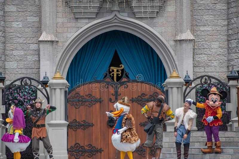 Mickey`s Royal Friendship Faire on Cinderella Castle in Magic Kingdom at Walt Disney World Resort royalty free stock photography