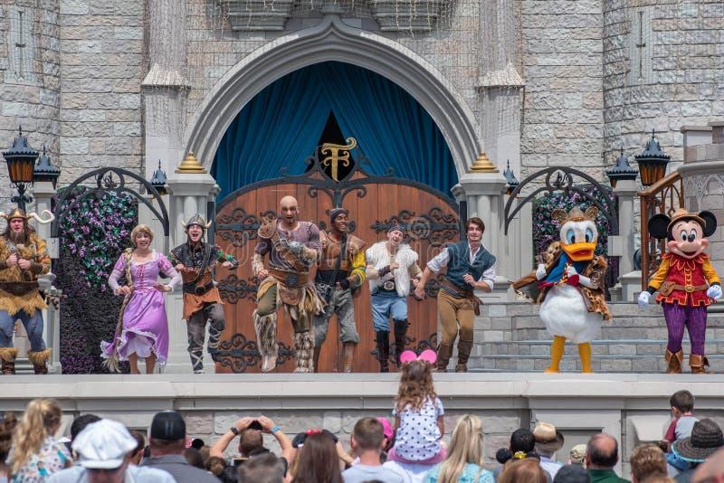 Mickey`s Royal Friendship Faire on Cinderella Castle in Magic Kingdom at Walt Disney World Resort royalty free stock photo