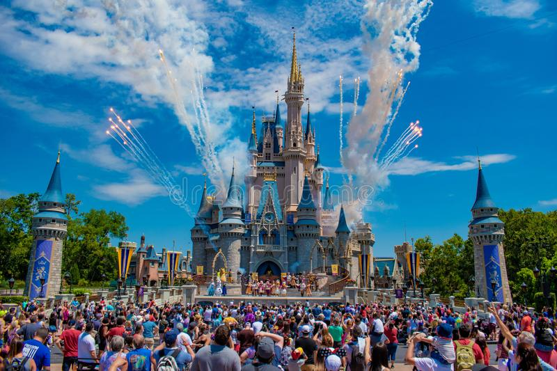 Mickey`s Royal Friendship Faire and fireworks on Cinderella Castle in Magic Kingdom at Walt Disney World Resort  2. Orlando, Florida. May 17, 2019. Mickey`s stock photo