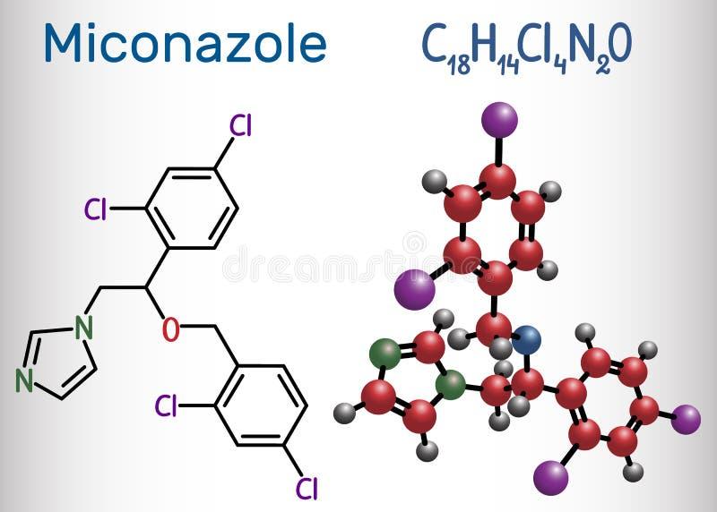 Miconazole molekyl Det är en van vid trea för antifungal läkarbehandling vektor illustrationer