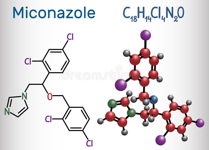 Miconazolemolecule Het is een schimmeldodend die medicijn aan trea wordt gebruikt vector illustratie