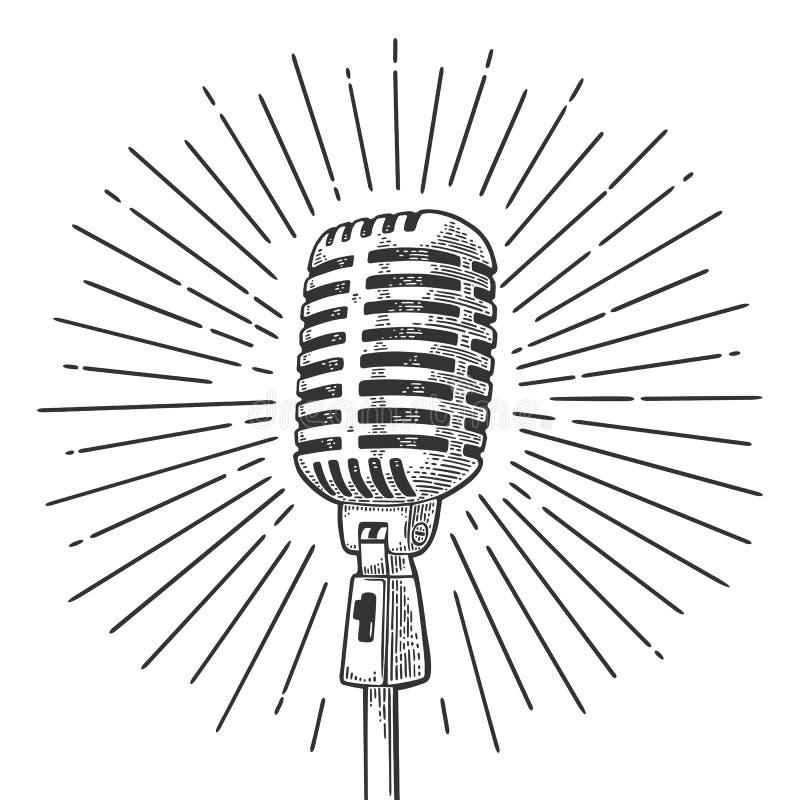 Micrófono con el rayo Ejemplo del grabado del negro del vector del vintage ilustración del vector