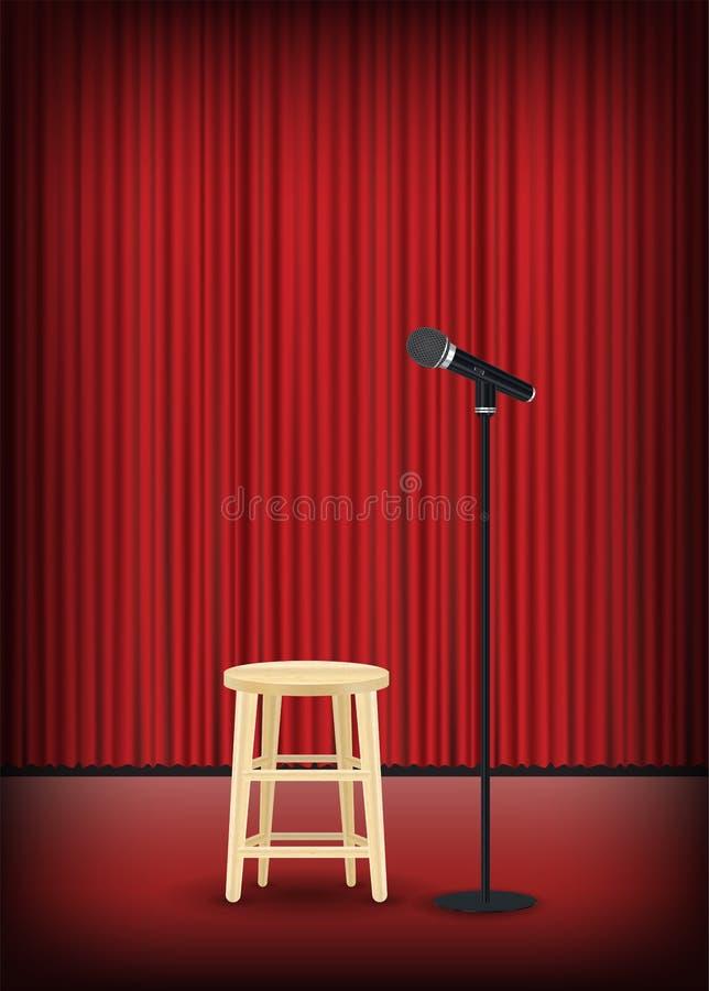 Micrófono con la silla redonda en la demostración de la etapa libre illustration