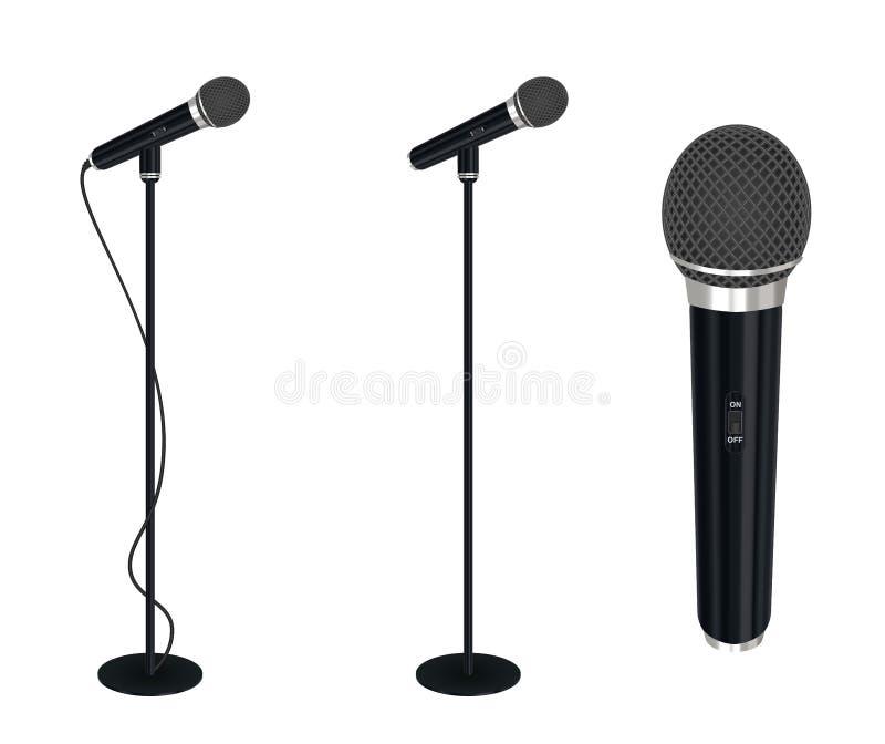 Micrófono con vector del soporte en el fondo blanco ilustración del vector
