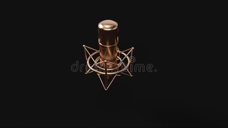 Micrófono de cobre amarillo de bronce imagen de archivo libre de regalías