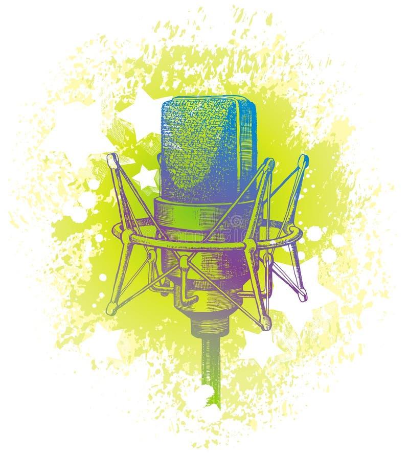 Micrófono de condensador drenado mano del estudio libre illustration