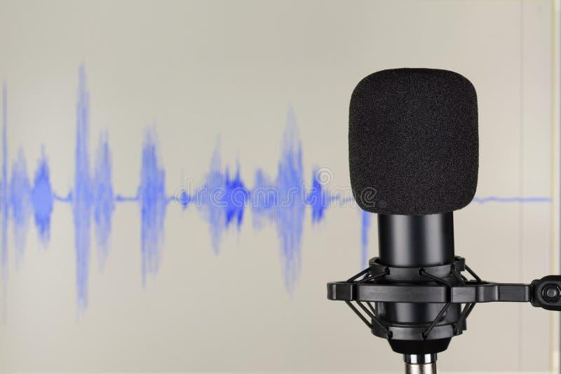 Micrófono de condensador negro del estudio sobre forma de onda imágenes de archivo libres de regalías
