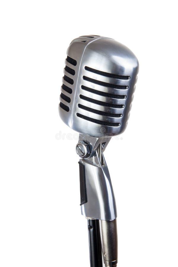 Micrófono de la vendimia aislado en blanco fotos de archivo libres de regalías