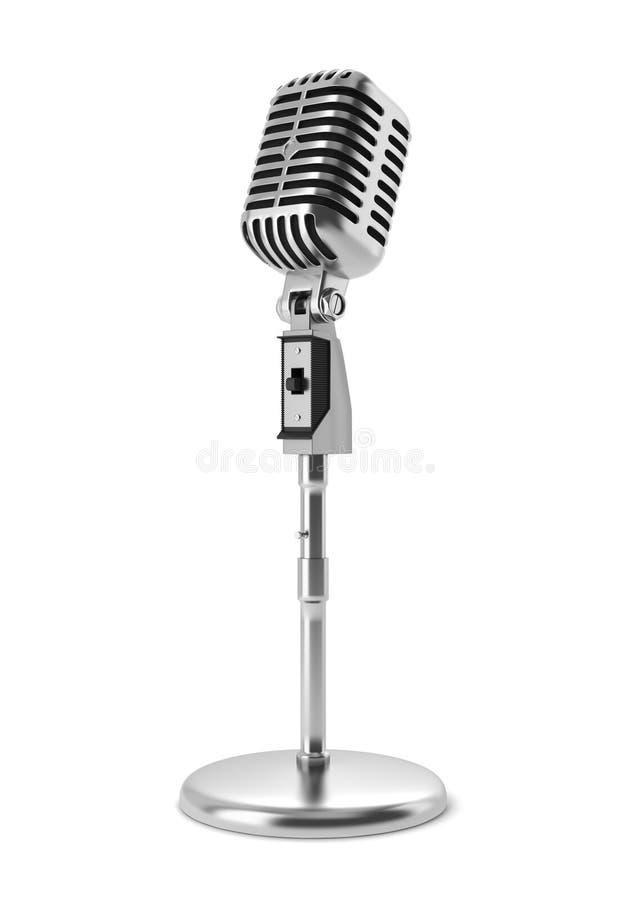 Micrófono de la vendimia en el soporte aislado en blanco ilustración del vector