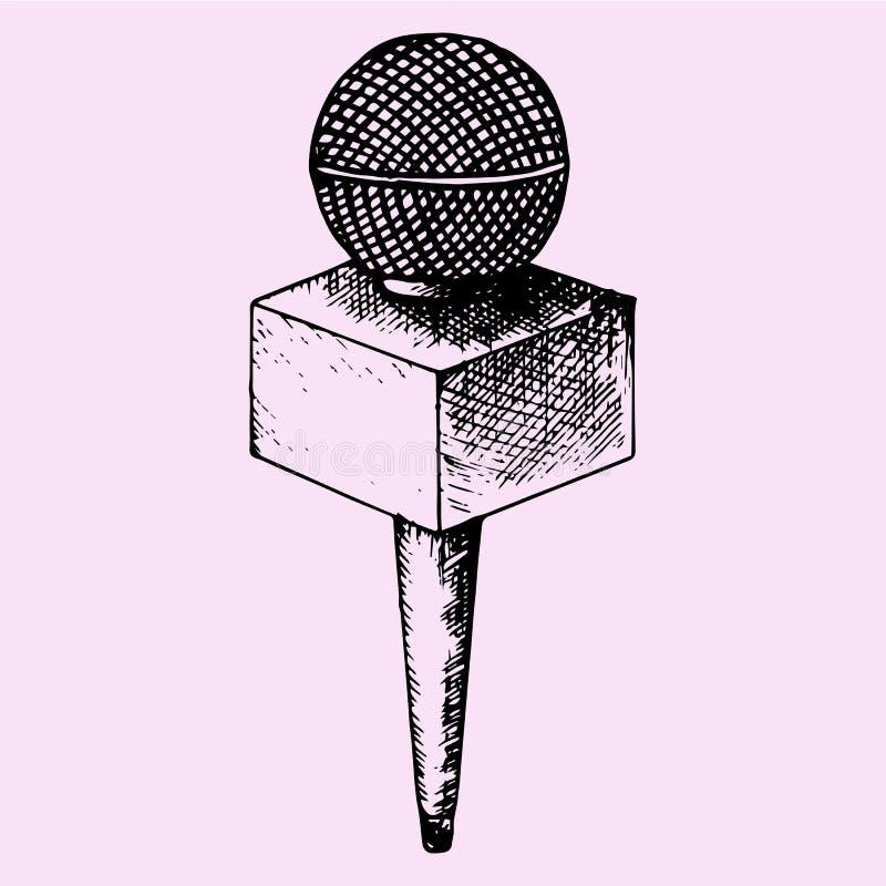Micrófono de las noticias stock de ilustración