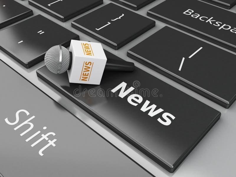 micrófono de las noticias 3d y teclado de ordenador con noticias de la palabra libre illustration