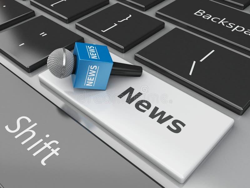 micrófono de las noticias 3d y teclado de ordenador con noticias de la palabra ilustración del vector