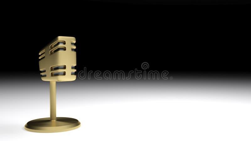 Micrófono de latón de metal satinado de estilo antiguo en una superficie blanca, sobre fondo negro - Ilustración 3D stock de ilustración