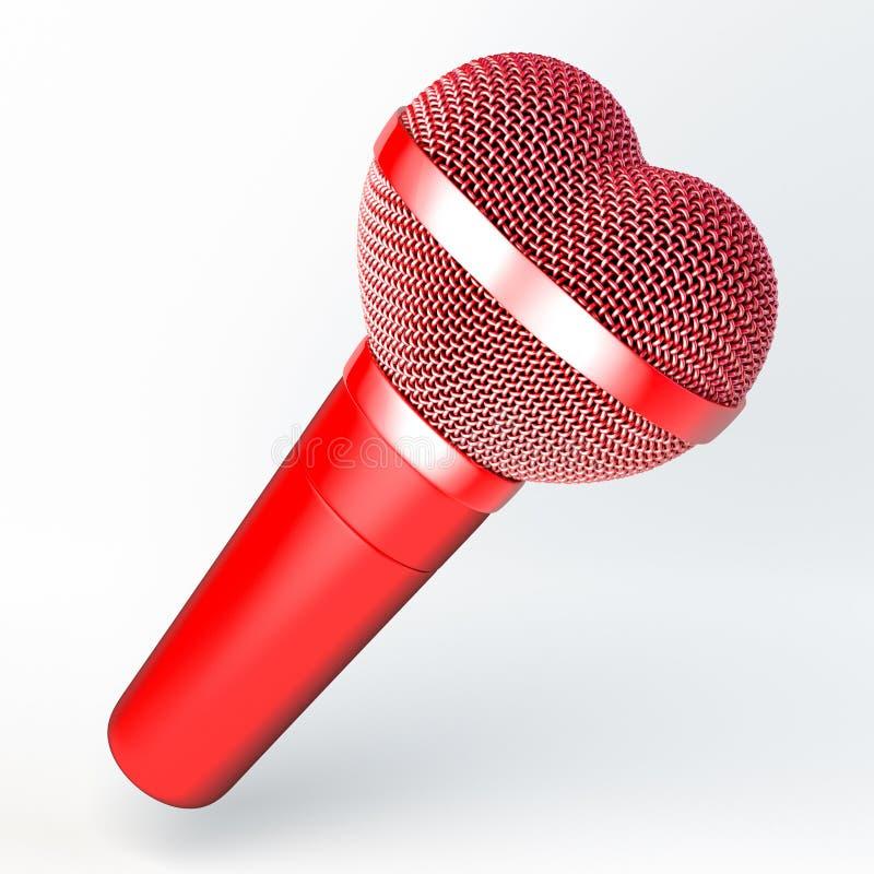 Micrófono de mano en forma de corazón stock de ilustración