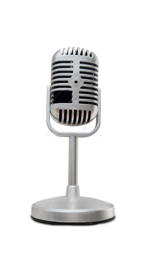 Micrófono de plata antiguo aislado en el fondo blanco fotos de archivo