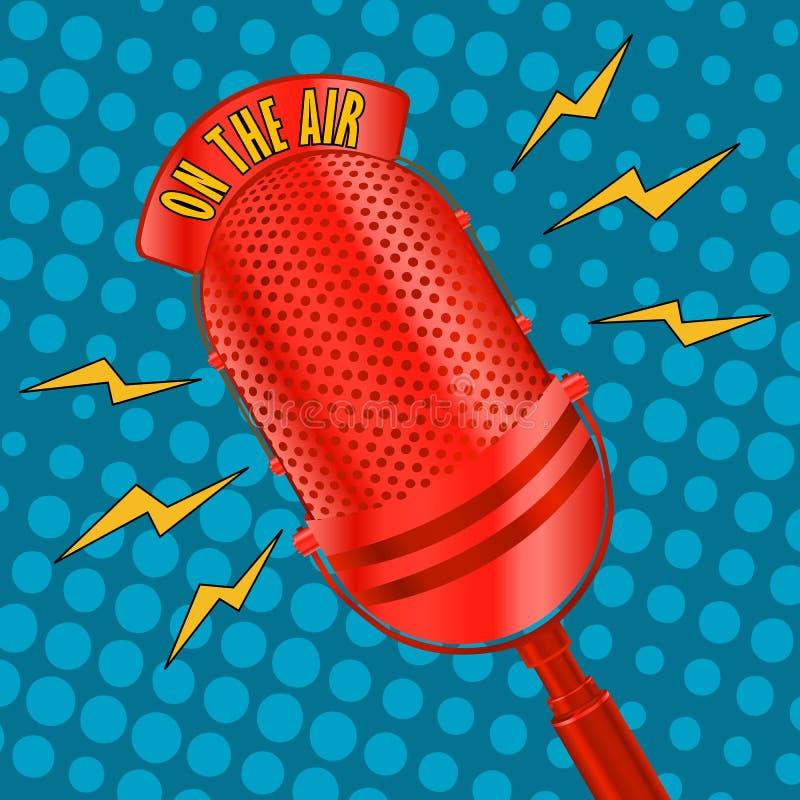 Micrófono del arte pop ilustración del vector