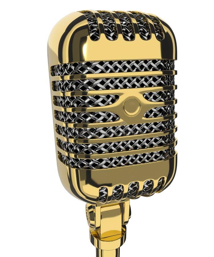 Micrófono del estudio del vintage 3d rinden stock de ilustración